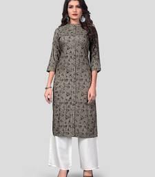 Grey & White Solid And Hand Work Rayon Stitched Straight Women's Kurta With Palazzo Set