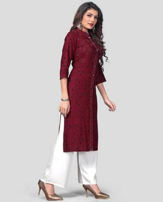 Dark Purple & White Printed Rayon Stitched Straight Women's Kurta With Palazzo Set