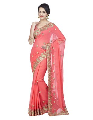 Neo Pink Embriodered Faux Georgette Saree With Blouse Piece.