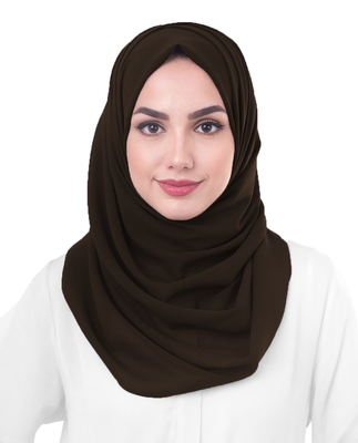 Justkartit Women's Brown Color Casual Wear Georgette Dupatta Hijab Scarf