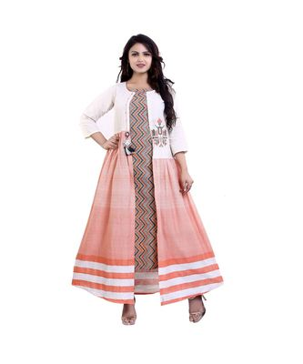 Designer Orange Printed Kurta with Attached Jacket  For Women