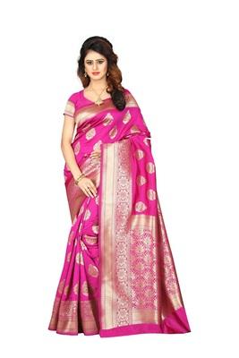 Pink Banarsi Woven Saree With Blouse Piece.