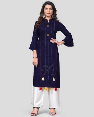 Blue & White Hand Work Rayon Stitched Straight Women's Kurta With Palazzo Set