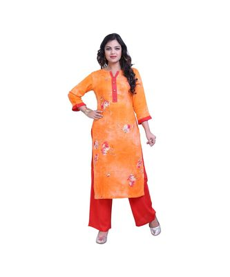 Orange Kurta with Red Palazzo For Women