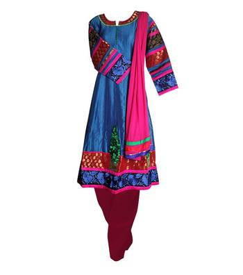 Sihiri Deep Sea Blue Dress Material Punjabi Suit with Pink Dupatta