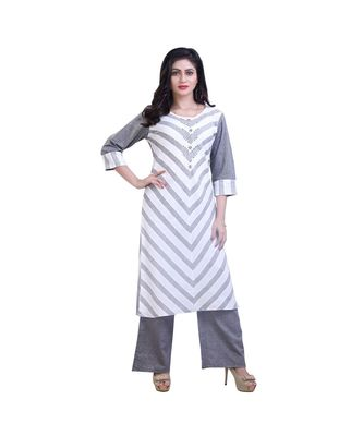 White & grey Kurta with palazzo For Women