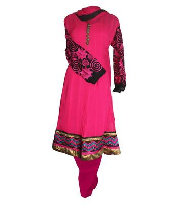 Sihiri Deep Pink Dress Material Punjabi Suit with Pink Dupatta