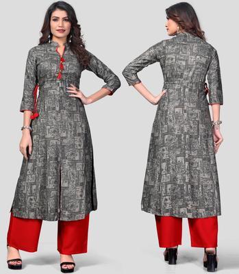 Grey & Red Printed Rayon Stitched A-Line Women's Kurta With Palazzo Set