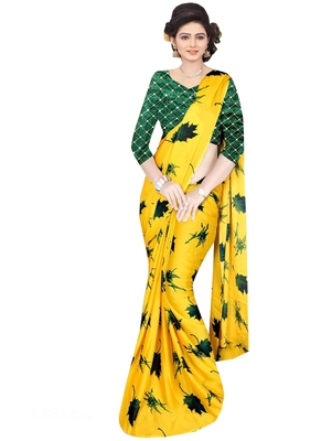 Yellow brasso fancy fabric saree with blouse