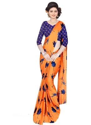 Orange brasso fancy fabric saree with blouse