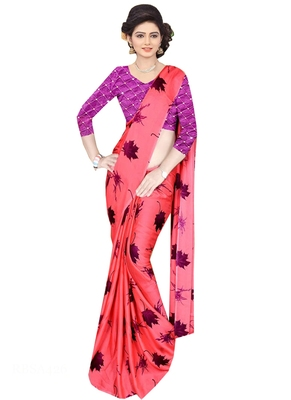 Peach Brasso Fancy Fabric Saree With Blouse