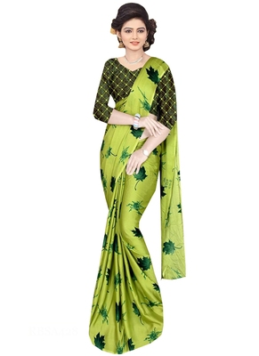 Green Brasso Fancy Fabric Saree With Blouse