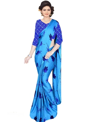 Blue brasso fancy fabric saree with blouse