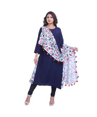 Designer Blue Kurta with attached Printed Dupatta For Women