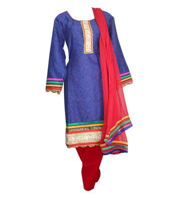 Sihiri Blue Cotton Dress Material Punjabi Suit with Red Dupatta