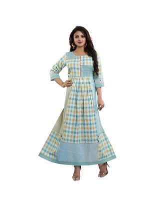Designer Aqua Green & Yellow Checked Kurta For Women