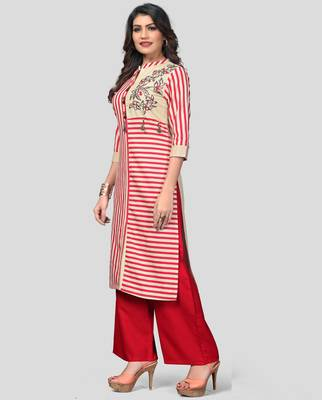 Multicolor & Red Printed Cotton Stitched Straight Women's Kurta With Palazzo Set