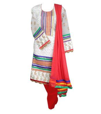 Sihiri White Georgette Dress Material Punjabi Suit with Red Dupatta
