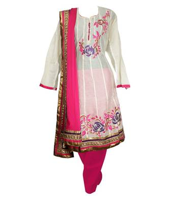 Sihiri White Banaras Cotton Anarkali Dress Material Punjabi Suit with Pink Dupatta