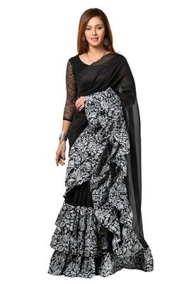 black digital print ruffal saree