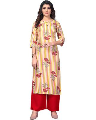 Multicolor & Red Printed Rayon Stitched Straight Women's Kurta With Palazzo Set