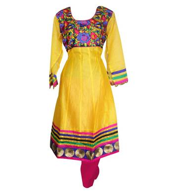 Sihiri Yellow Banaras Cotton Silk Anarkali Dress Material Punjabi Suit with Pink Dupatta