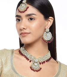 I Jewels 18k Gold Plated Traditional Choker Set Glided with Kundan & Pearls for Women/Girls