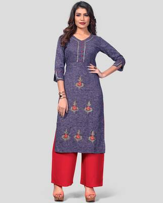 Blue & Red Embroidered Cotton Stitched Straight Women's Kurta With Palazzo Set