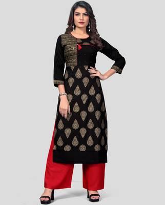 Black & Red Printed Rayon Stitched Straight Women's Kurta With Palazzo Set