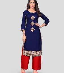 Blue & Red Patch Work Rayon Stitched Straight Women's Kurta With Palazzo Set