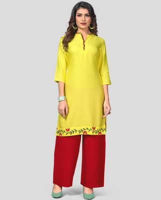 Yellow & Red Solid And Embroidered Rayon Stitched Straight Women's Kurta With Palazzo Set
