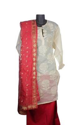 Sihiri White Banaras Cotton Silk Dress Material Punjabi Suit with Red Supernet Dupatta