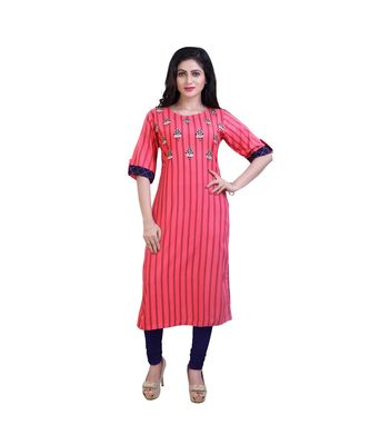 embroidered Pink kurta For Women