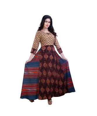 Brown Printed Anarkali dress For Women