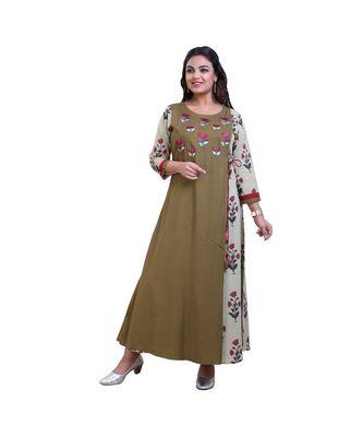 Mehendi green embroidered Long Kurta For Women