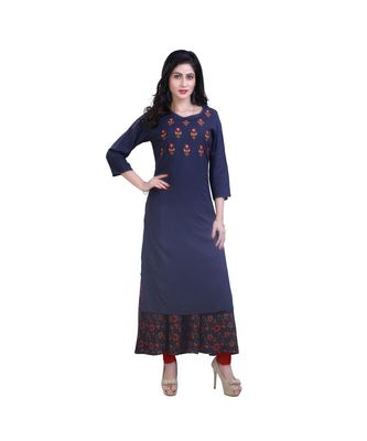Dark Blue two Layered Kurta For Women