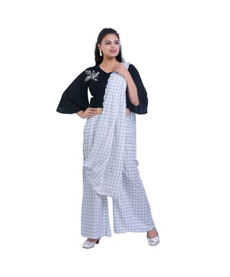 Designer Black Top with White checks Palazzo with Attached Dupatta For Women