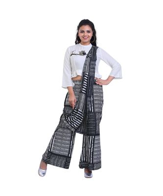 Designer White Top with blue checks Palazzo with Attached Dupatta For Women