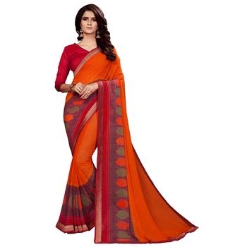 Dark orange printed faux georgette saree with blouse