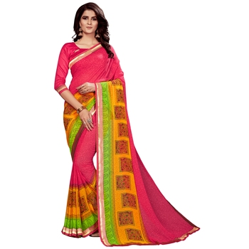 Light red printed faux georgette saree with blouse
