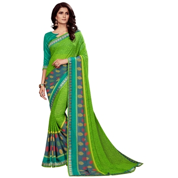Dark green printed faux georgette saree with blouse