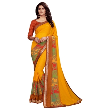 Dark yellow printed faux georgette saree with blouse