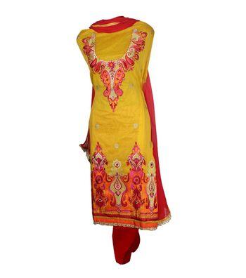 Sihiri Yellow Banaras Cotton Silk Dress Material Punjabi Suit with Red Chiffon Dupatta