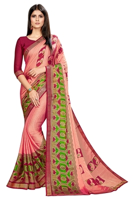 Dark peach printed chiffon saree with blouse