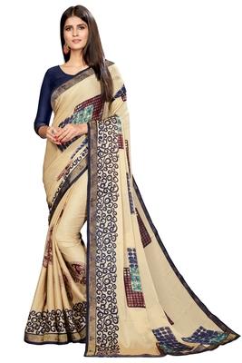 Cream printed chiffon saree with blouse
