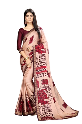 Light copper printed chiffon saree with blouse