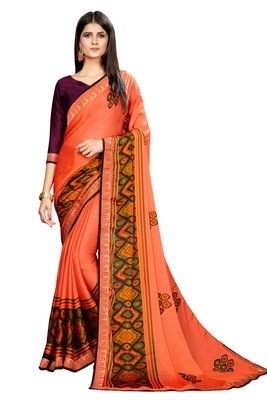 Light orange printed chiffon saree with blouse
