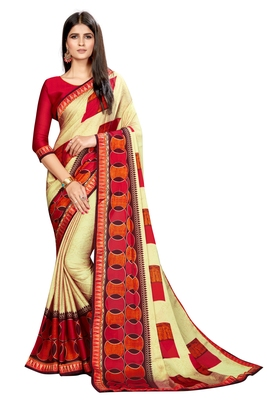 Olive printed chiffon saree with blouse