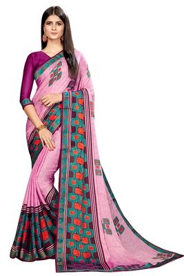 Light pink printed chiffon saree with blouse