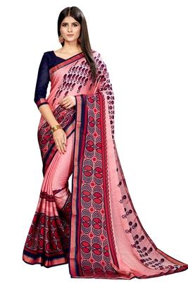 Baby pink printed chiffon saree with blouse